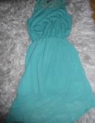 Asymetryczna woalowa morska sukienka L