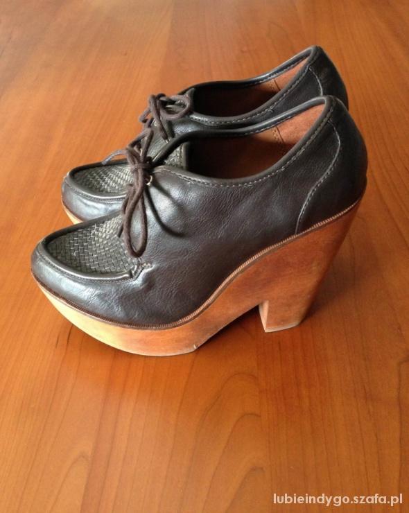 Koturny Wiązane brązowe botki buty na wysokim obcasie