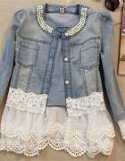 katana kurtka jeansowa koronka z koronką gipura