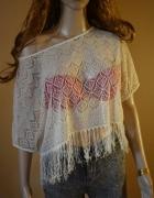 bluzka koronka frędzle biała ecru H&M