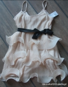 Sukienka HM by night falbanki pudrowy róż...