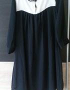 sukienka szyfon czarna biała hm s