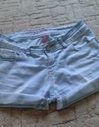 Krótkie jeansowe spodenki z podwijanymi nogawkami