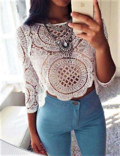 Blogerek koronka & jeans