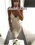 złota sukienka dopasowana z brokatem S 36
