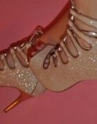 Szpilki wiązane złote srebrne high heels śliczne