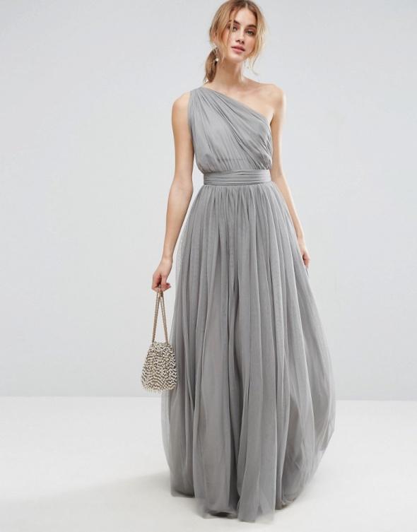 Asos maxi szara sukienka tiulowa balowa w Suknie i sukienki