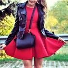 ramoneska & czerwona sukienka