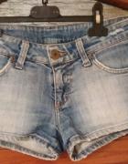 Jeansowe spodenki SZORTY 34 XS bardzo krótkie sexy