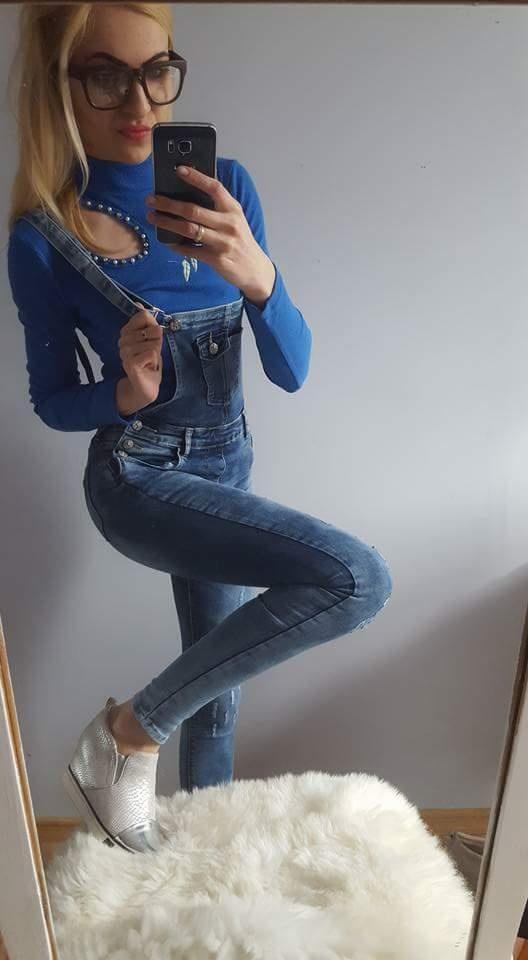 Spodnie HIT MODNE JEANSOWE OGRODNICZKI XS