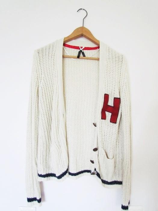 Swetry beżowy sweterek na guziki narzutka college S