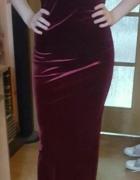 Bordowa długa sukienka Rozmiar M