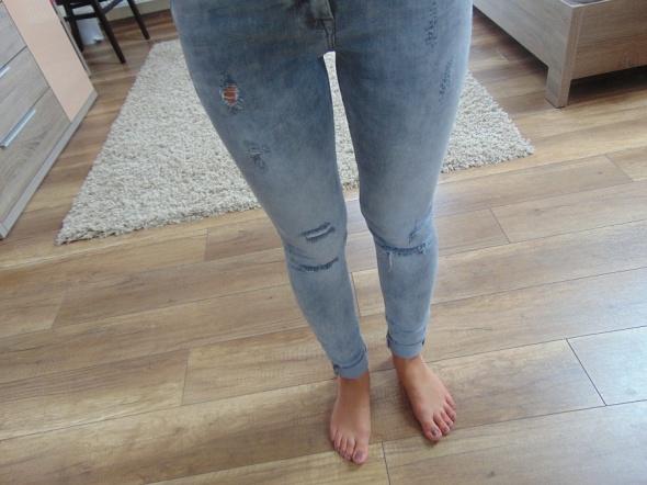 Spodnie Bershka 34 XS jeansy rurki dziury wysoki stan
