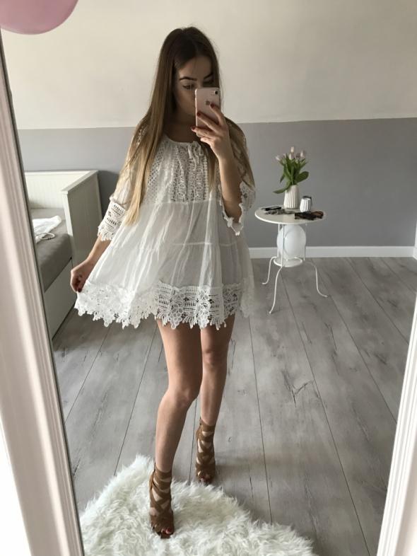 Suknie i sukienki Biała sukienka Boho