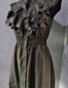 zwiewna sukienka khaki z falbankami 36