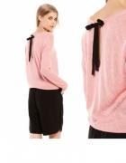 sweter bershka kokardka brudny róż oversize