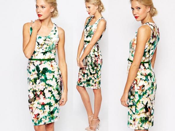 190c5b8361 Suknie i sukienki COAST asos OŁÓWKOWA SUKIENKA kwiaty 500ZŁ bodycon