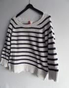 H&M Sweterek w paski biały z granatem 36 S