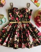 Sukienka z koła w stylu Vintage Balkonetka Kwiaty