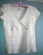 Ażurowa bluzka Eidos crop top ecru koronka