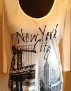 NOWA biała bluzka z nadrukiem NYC
