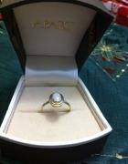 Złoty pierścionek 585 z opalem klasyka