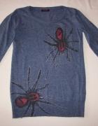 L W YES niebieski sweter kaszmir wełna S M...