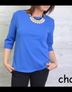 klasyczna kobaltowa bluzka trapez
