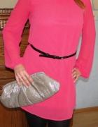 Sukienka tunika z przeźroczystymi rękawami
