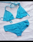 turkusowy strój kąpielowy bikini dwuczęściowy neon