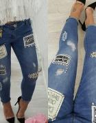 Mega wygodne jeansy naszywki rurki