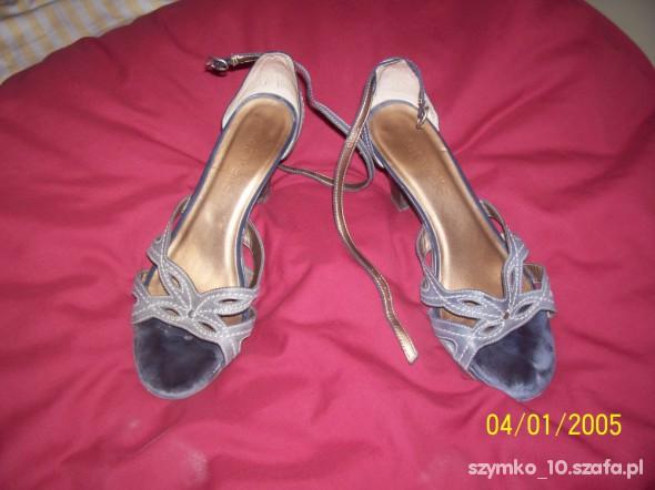 Sandały szaro niebieskie sandaly skorzane