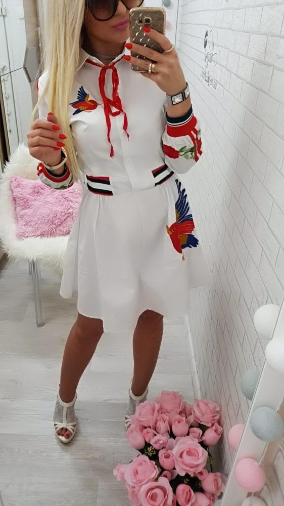 Codzienne śliczna sukienka haft bejsbolowe wykończenia