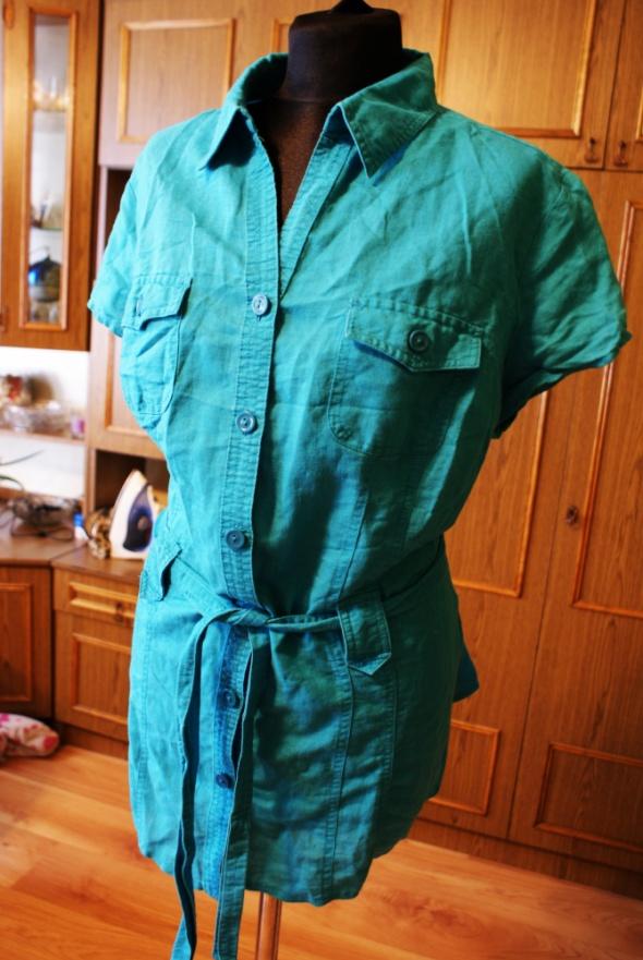 Turkusowa lniania koszula z krótkim rękawem