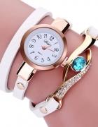 Biały Stylowy Zegarek Damski Oczko