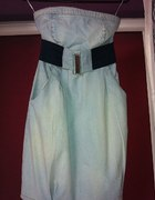 dżinsowa sukienka bez ramiączek stradivarius