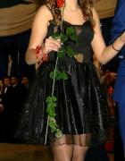 sukienka czarna tiulowa brokatowa sylwester studniówka ramiączka rozkloszowana