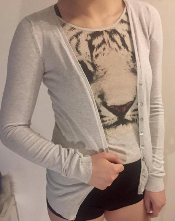 Swetry Szary sweterek Stradivardius rozpinany
