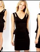 sukienka mała czarna dekolt baskinka New Look Zara