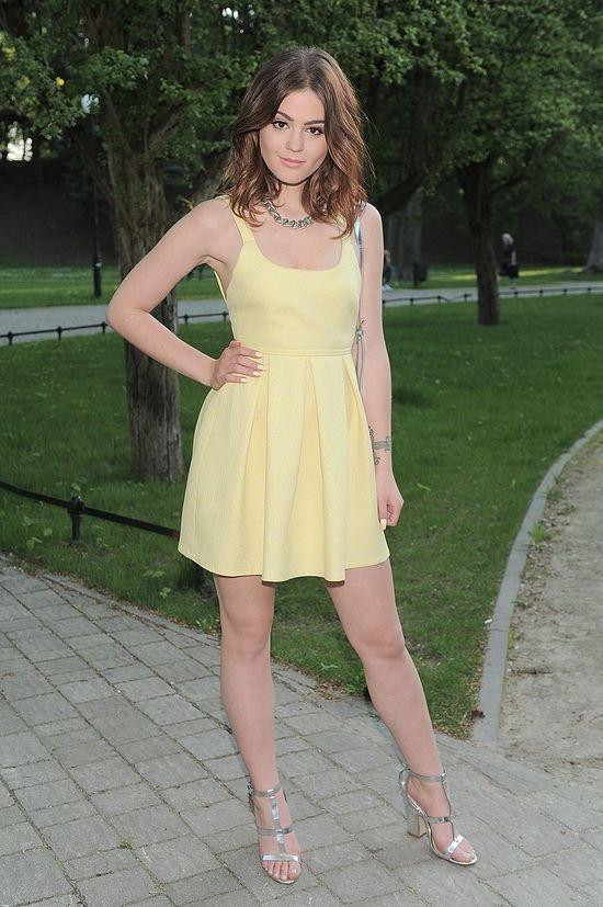 1e7239d924 Suknie i sukienki Sukienka żółta rozkloszowana Zara żakardowa 34 XS