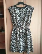 Sukienka H&M panterka XS S rozkloszowana