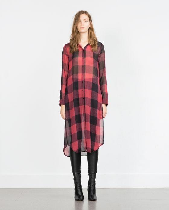 Koszule Zara Woman długa koszula kratka blogerska S M HIT