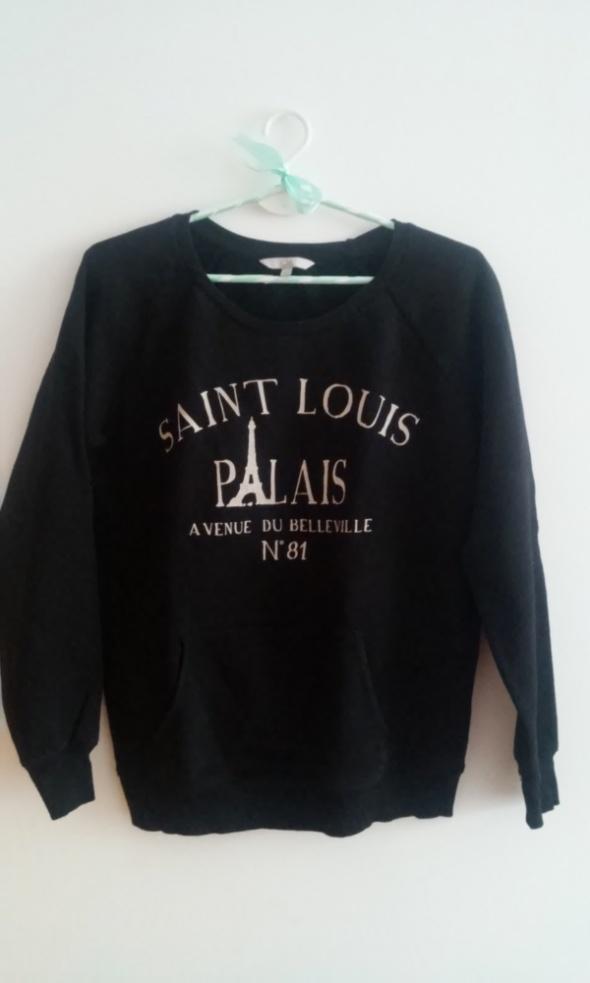 Bluzy Czarna bluza z nadrukiem Paris XS S M