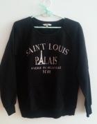 Czarna bluza z nadrukiem Paris XS S M