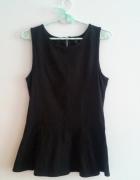 Czarna bluzka z baskinką M 38 H&M