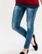 Rurki jeansy granatowe nakrapiane XL