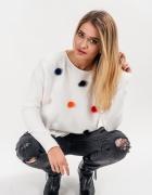 Swetr z puszkami futerkiem rozm uniwersalny nowy