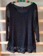 Sweter długi tunika cekiny czarny siateczka