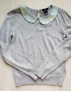 Sweterek z cekinowym kołnierzykiem H&M 34 xs