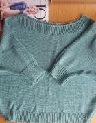 Nowy welniany turkusowy sweterek oversize...